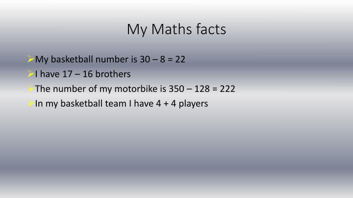 My Maths facts