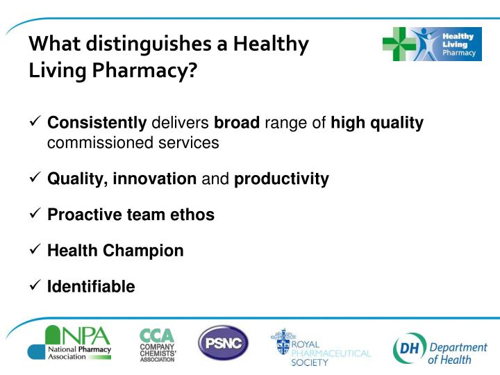 What distinguishes a Healthy Living Pharmacy?