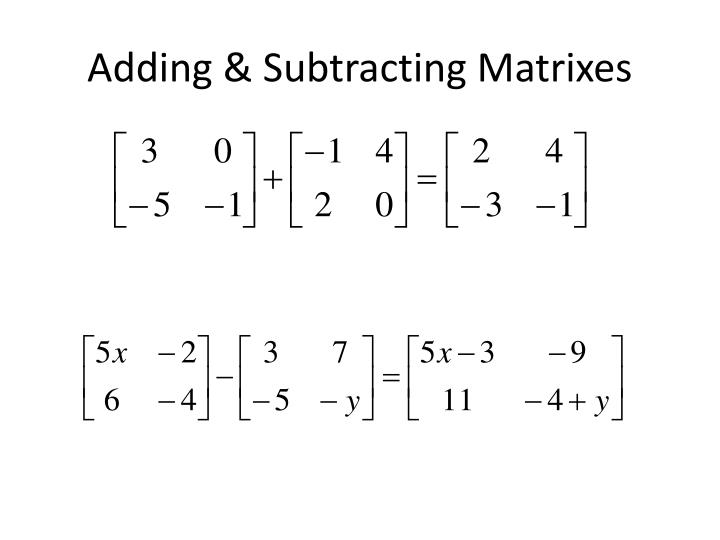 Adding & Subtracting Matrixes