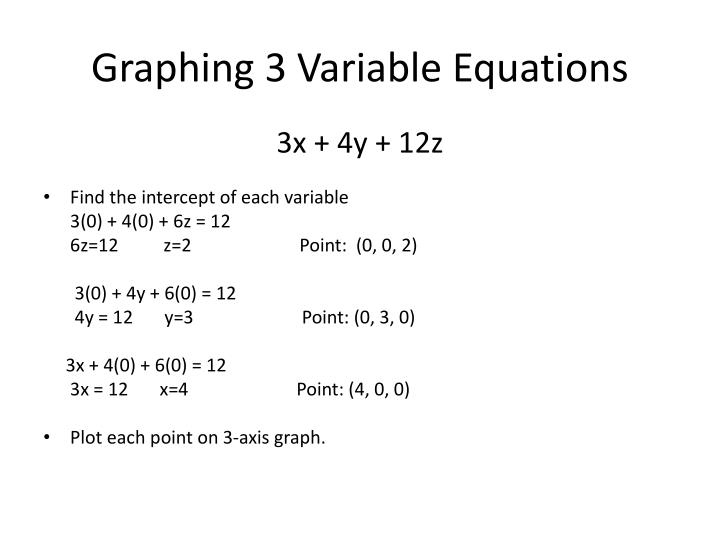 Graphing 3 Variable Equations