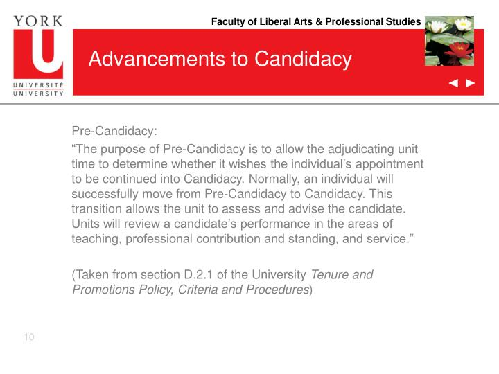 Advancements to Candidacy