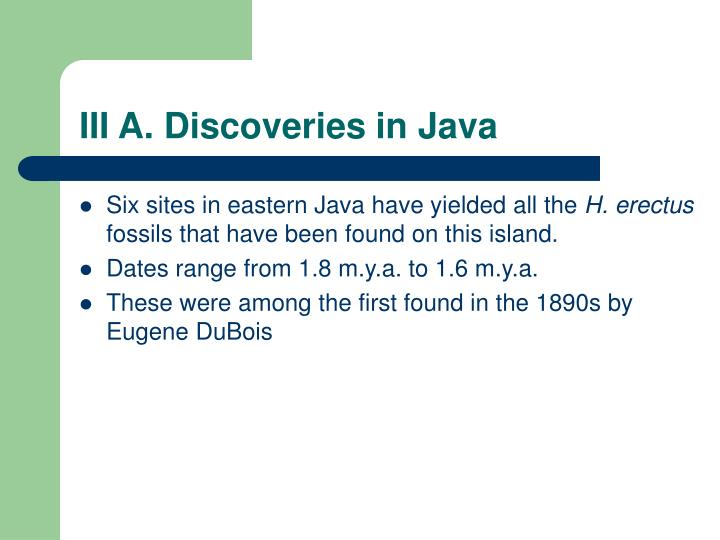 III A. Discoveries in Java