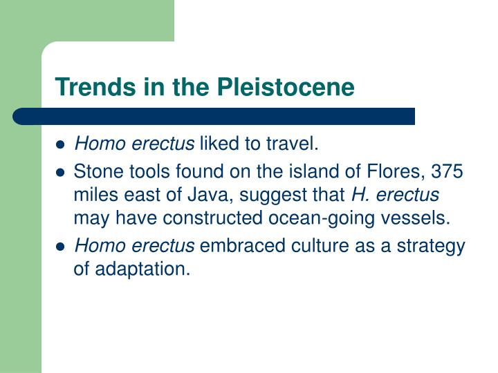 Trends in the Pleistocene