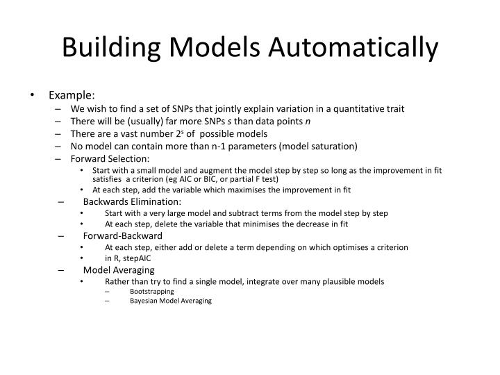 Building Models Automatically