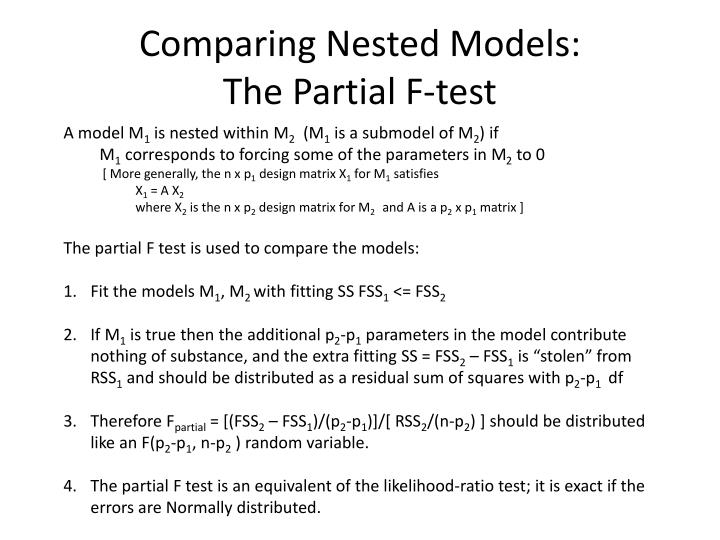 Comparing Nested Models: