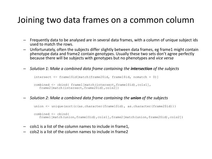 Joining two data frames on a common column