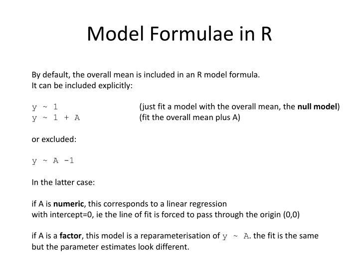 Model Formulae in R