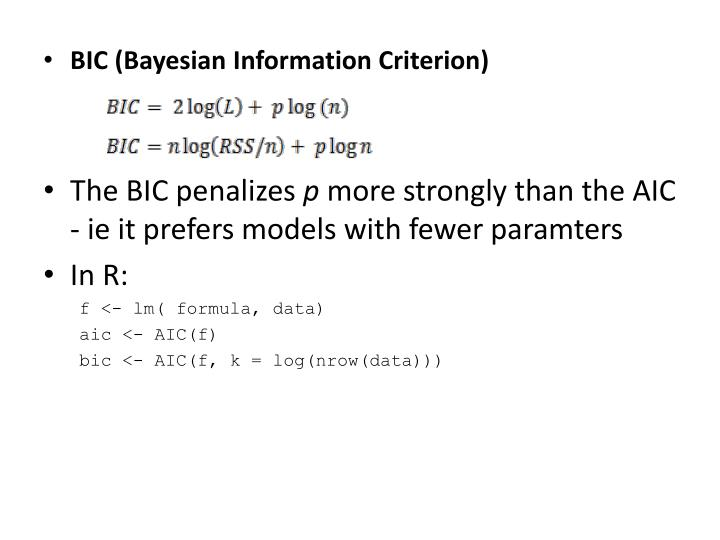 BIC (Bayesian Information Criterion)