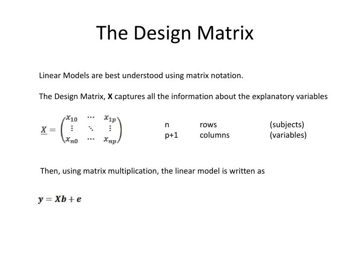 The Design Matrix