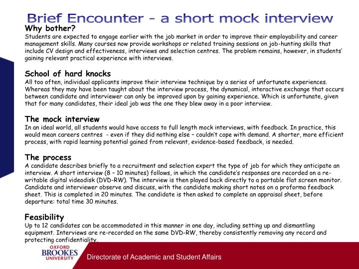 Brief Encounter - a short mock interview