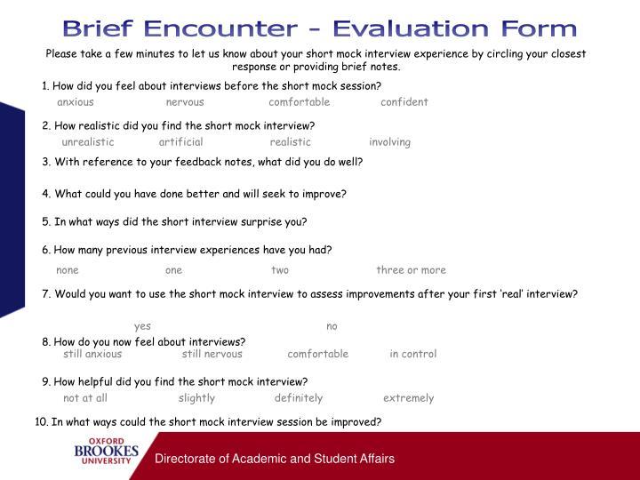 Brief Encounter - Evaluation Form