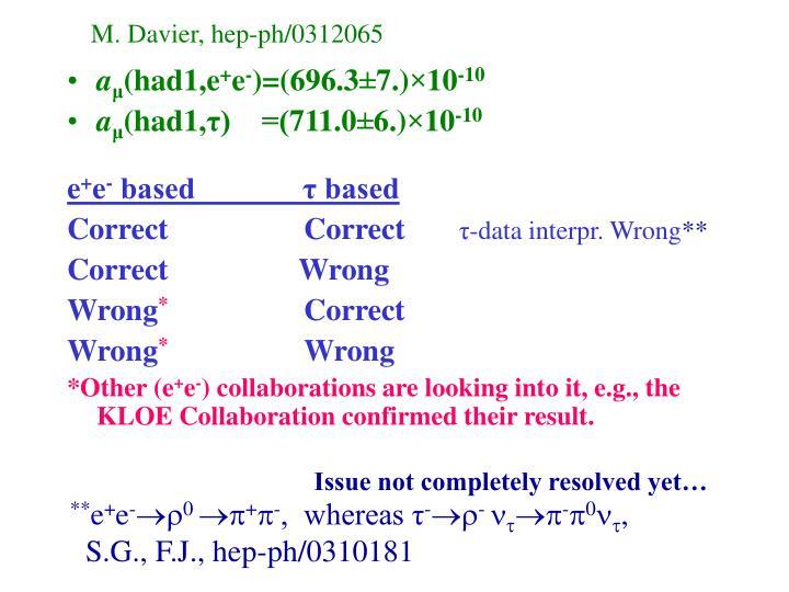 M. Davier, hep-ph/0312065