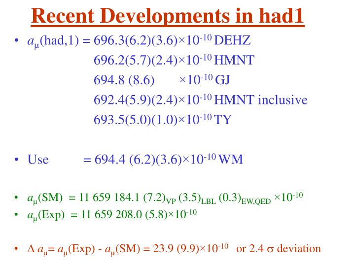 Recent Developments in had1