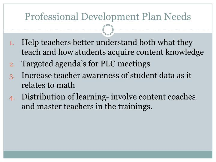Professional Development Plan Needs