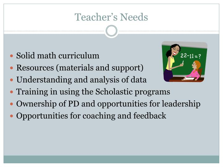 Teacher's Needs
