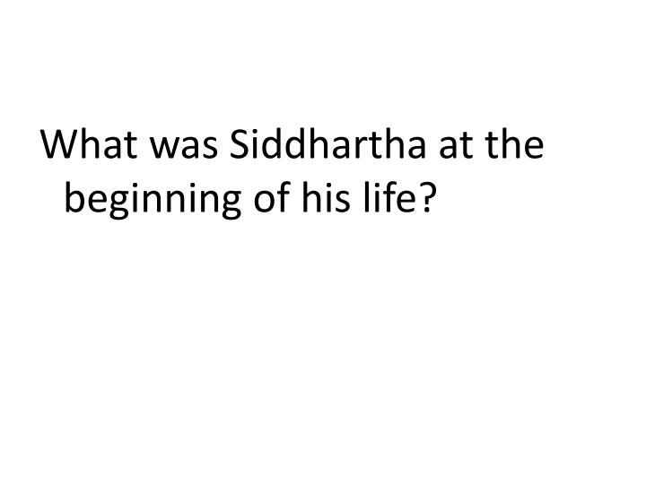 What was Siddhartha at the beginning of his life?