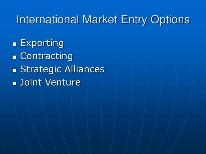 International Market Entry Options