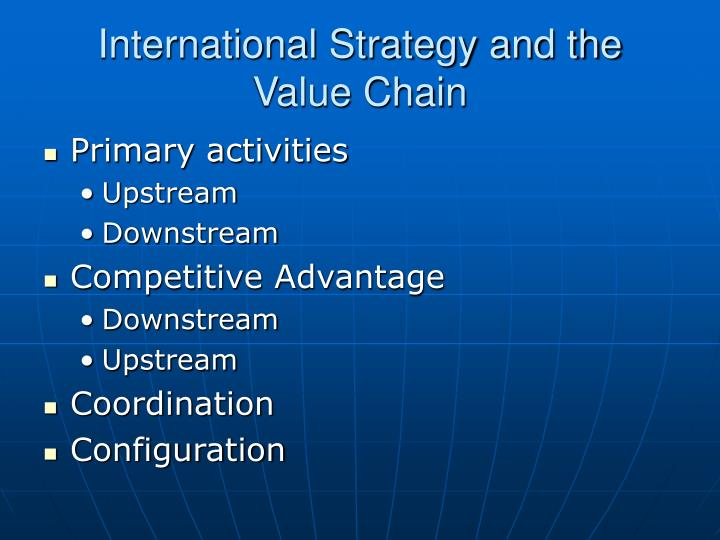 International Strategy and the Value Chain