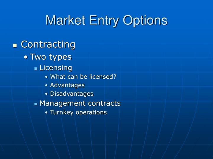 Market Entry Options