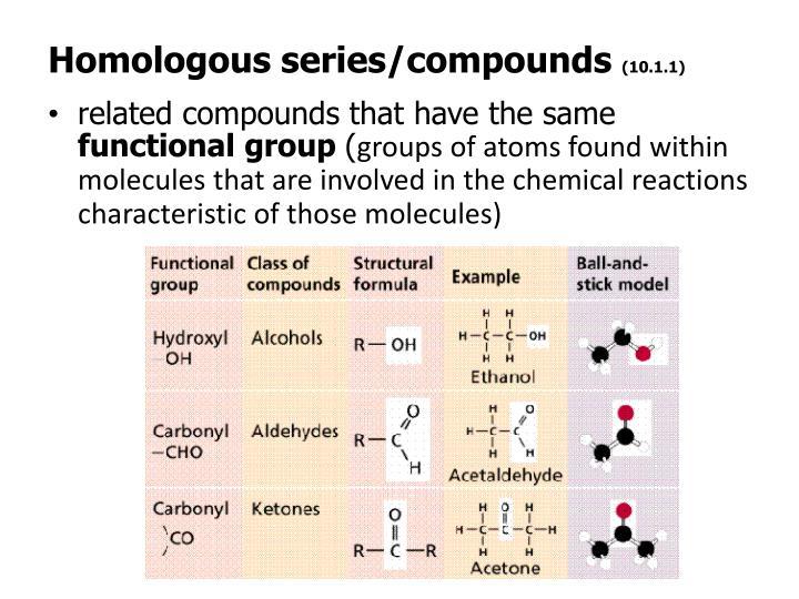 Homologous series/compounds