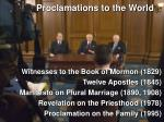proclamations to the world