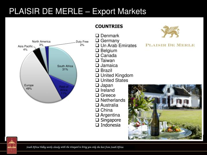 PLAISIR DE MERLE – Export Markets