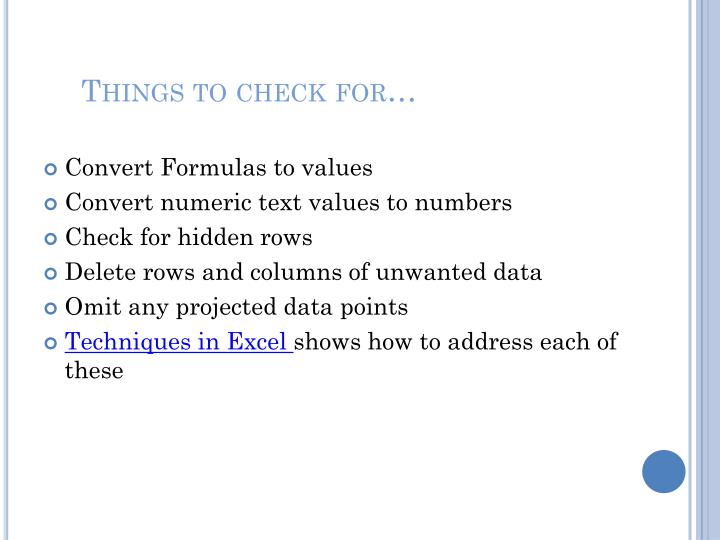 Things to check for
