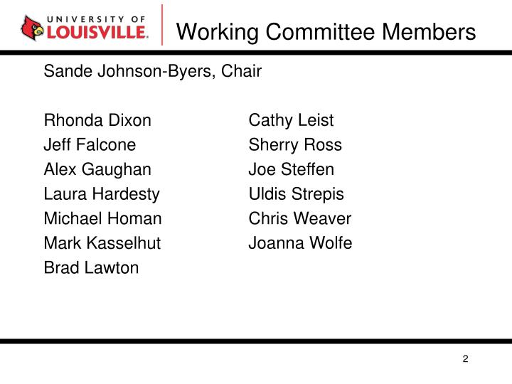 Working committee members