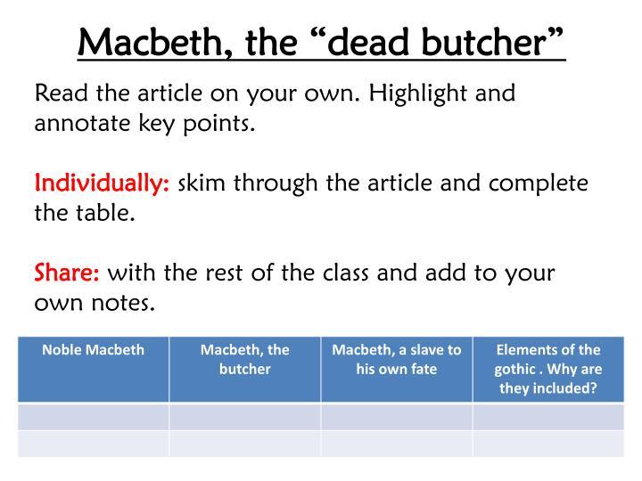 """Macbeth, the """"dead butcher"""""""