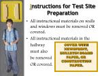i nstructions for test site preparation