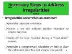 n ecessary steps to address irregularities cont