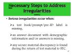 n ecessary steps to address irregularities cont1