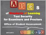 of standards of learning test security for examiners and proctors1