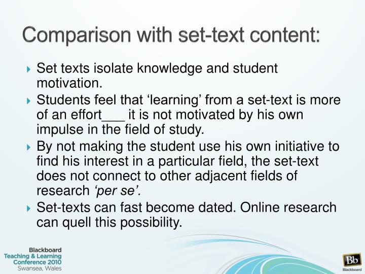 Comparison with set-text content: