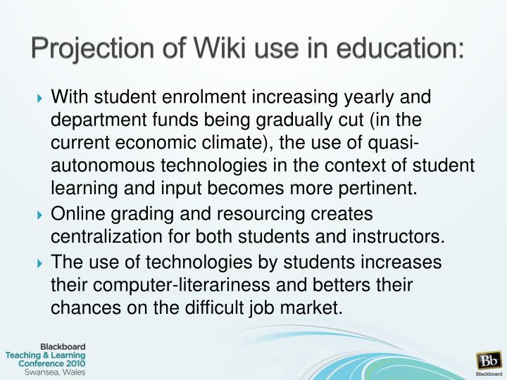 Projection of Wiki use in education: