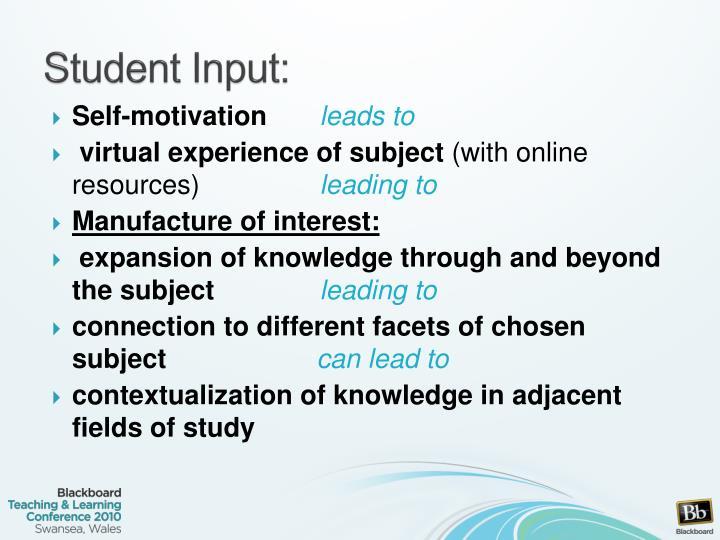 Student Input: