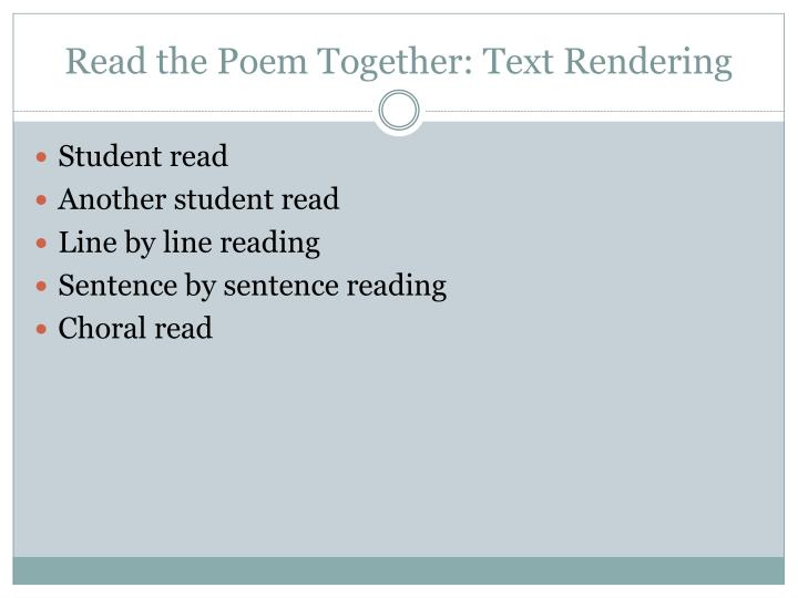 Read the poem together text rendering