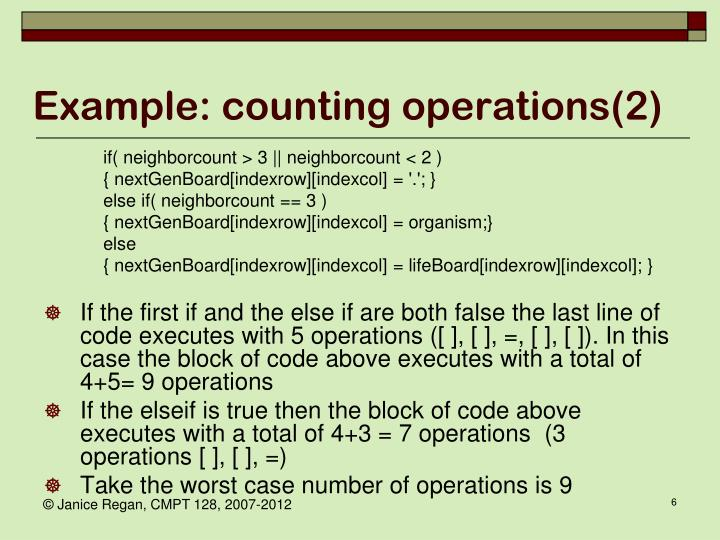 Example: counting operations(2)