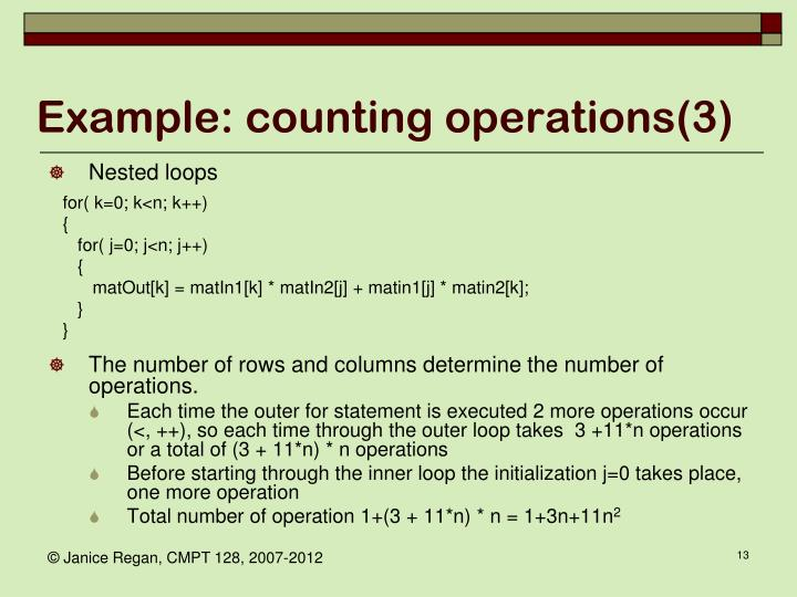 Example: counting operations(3)