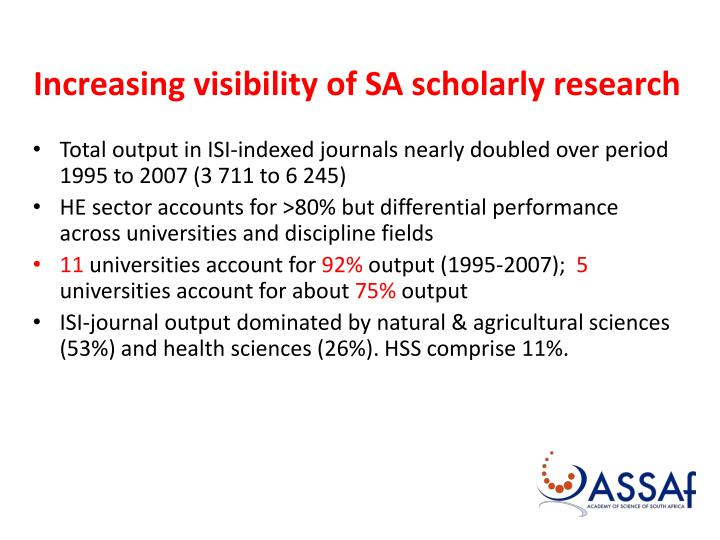 Increasing visibility of SA scholarly research