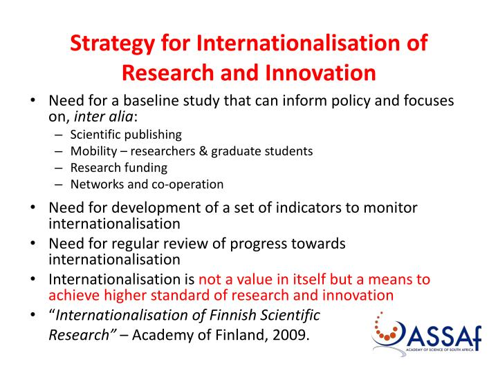 Strategy for internationalisation of research and innovation
