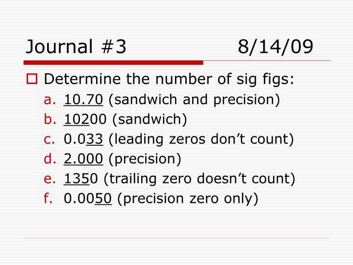 Journal #38/14/09