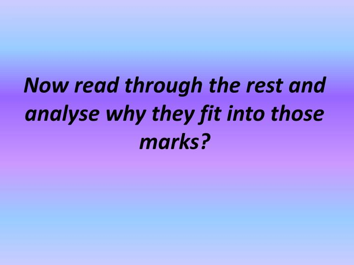 Now read through the rest and analyse why they fit into those marks?