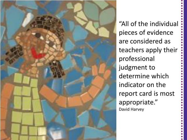 """All of the individual pieces of evidence are considered as teachers apply their professional judgment to determine which"