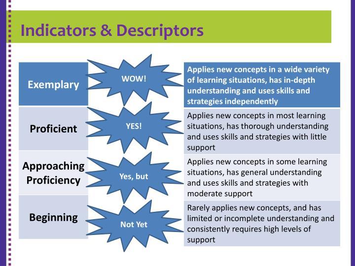 Indicators & Descriptors