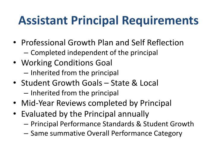 Assistant Principal Requirements