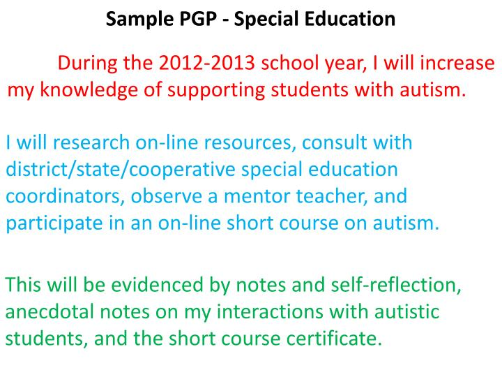Sample PGP - Special Education