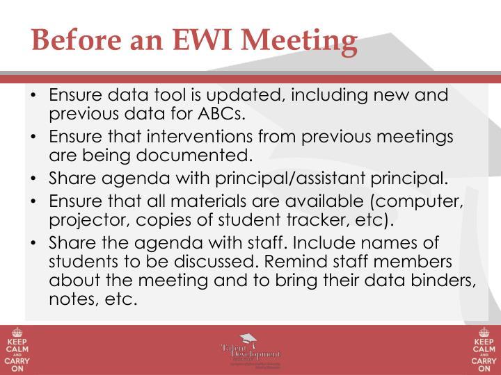 Before an EWI Meeting
