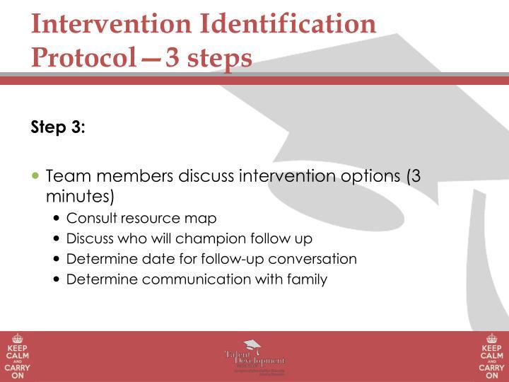 Intervention Identification Protocol—3 steps