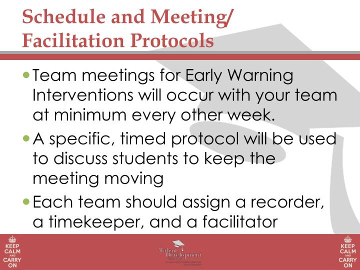 Schedule and Meeting/ Facilitation Protocols